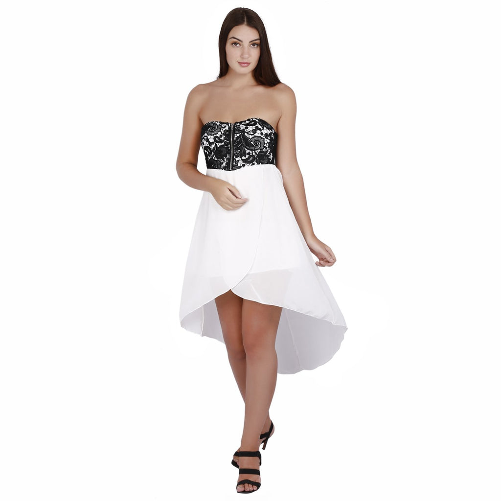 Jaune White Tube Chiffon Skirtout Dress