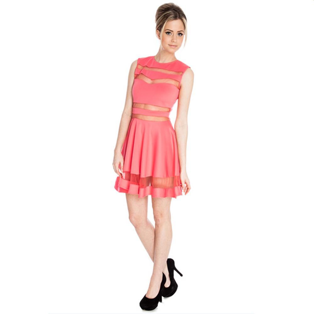 Jaune Light Coral Pink Traslucent Bands Dress