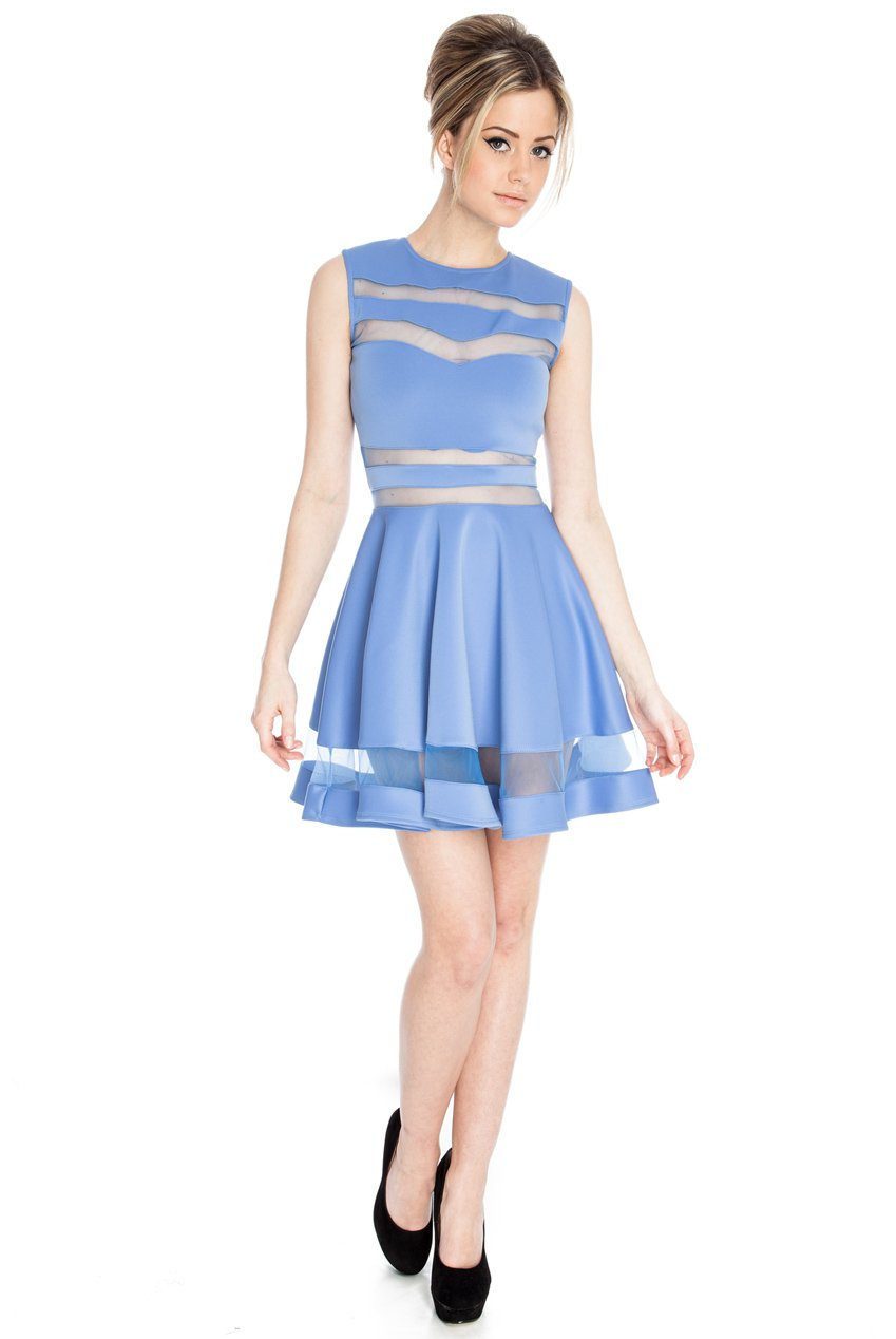 Jaune Sky Blue Traslucent Bands Dress