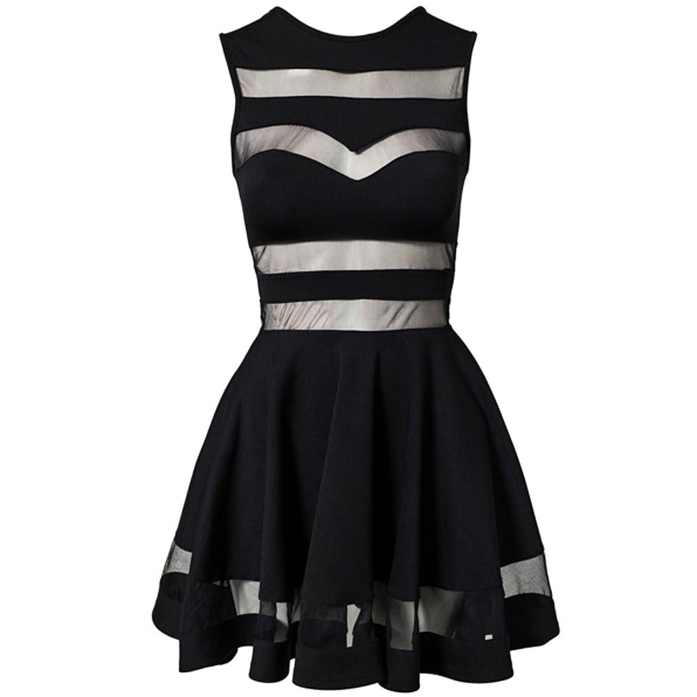 Jaune Black Traslucent Bands Dress