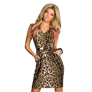Jaune Animal Print Pegged Dress