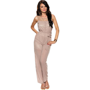 Jaune Tan Coloured Chiffon Jump-Suit