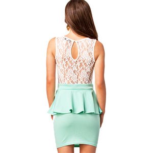 Jaune Lace-Embroidered Peplum Turquoise Dress