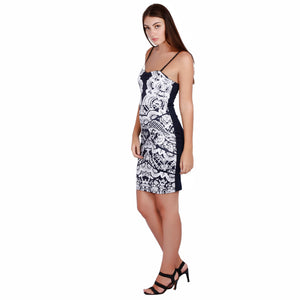 Jaune Marble White Print on Midnight Blue - Slip Dress
