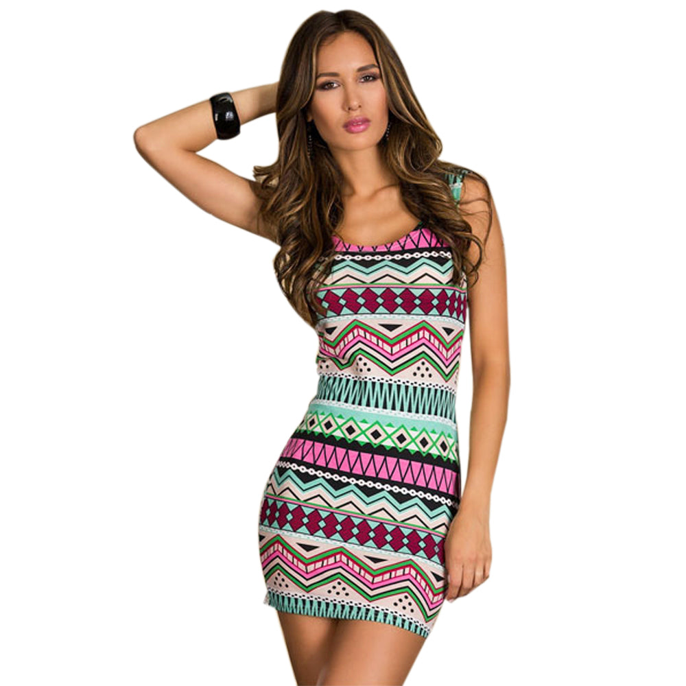 Jaune Aztec on Sky Bodycon Dress