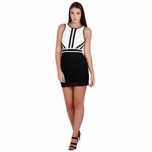The White Collar Girl Dress Super Skinny Fit