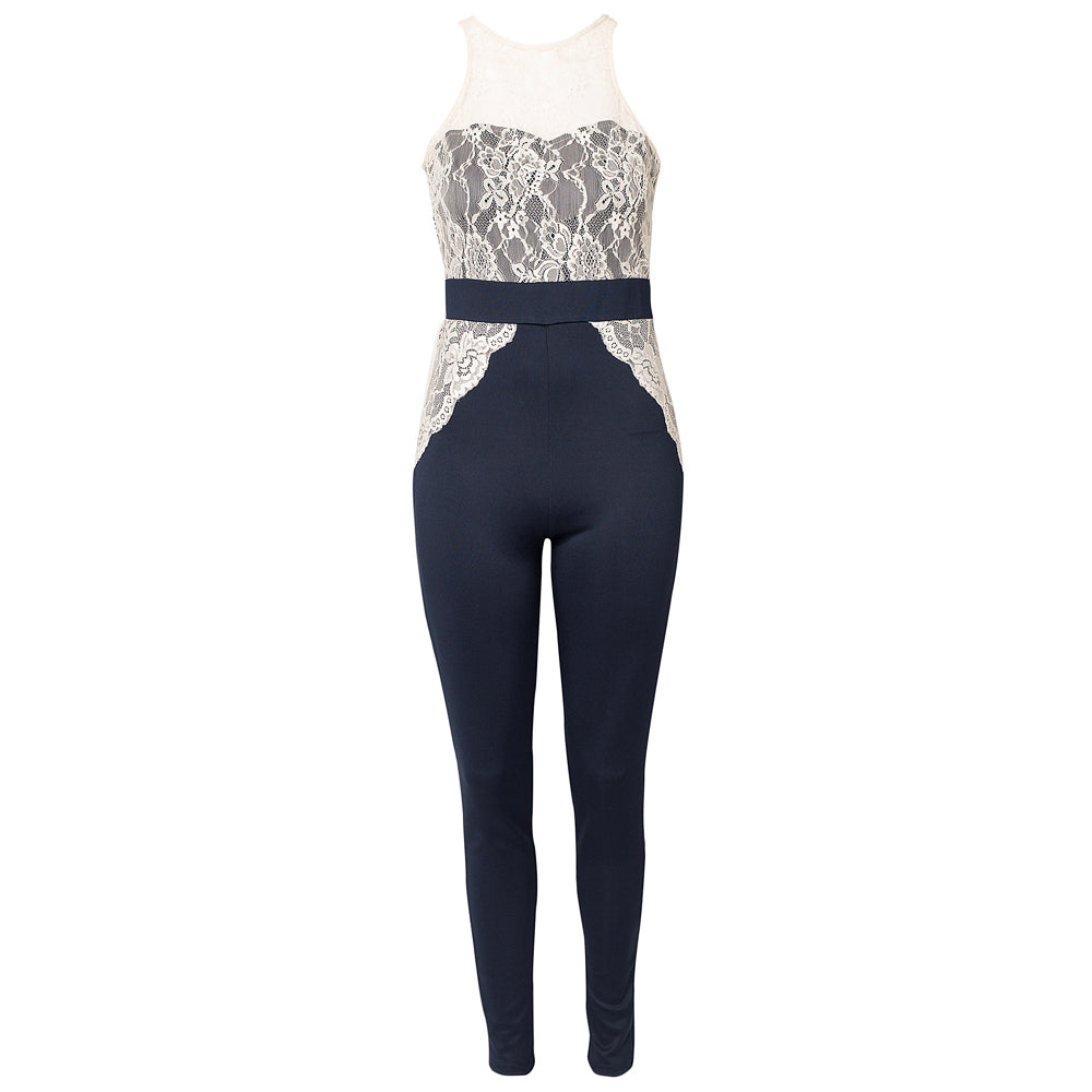 Deep Midnight Blue Laced Jumpsuit Slim Fit