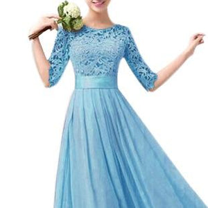Blue Lace Cocktail Gown