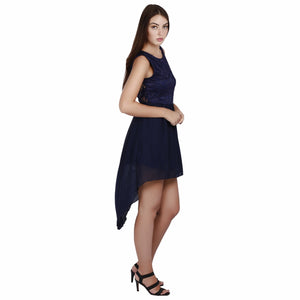 Midnight Blue Lace Hi-Lo Dress
