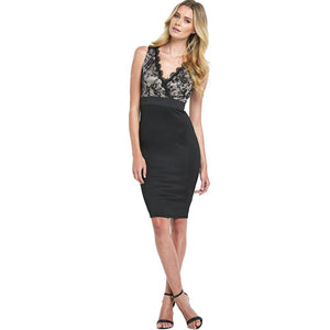 Black Floral Lace Emprire Dress