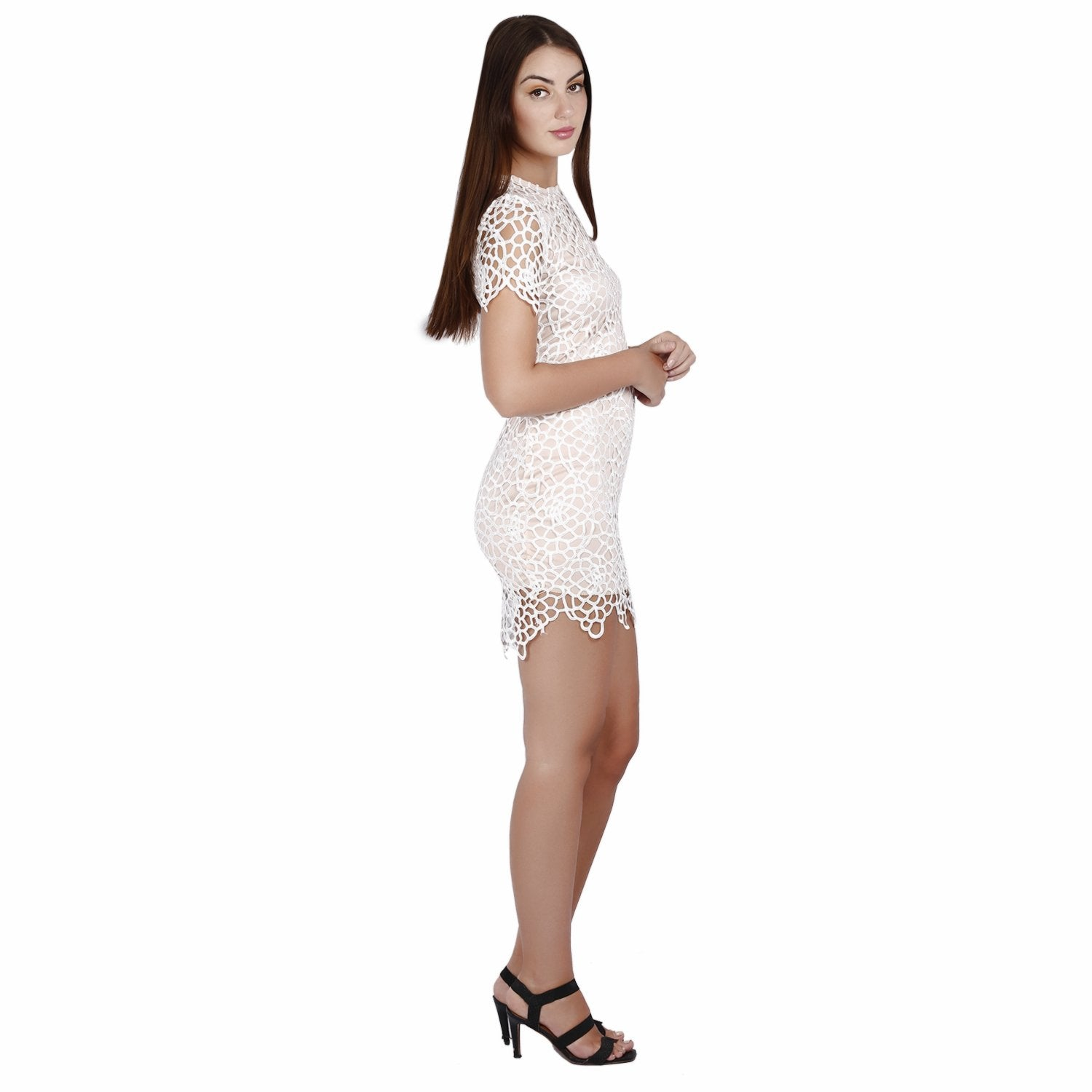 The Honeycomb Glamour Dress - White