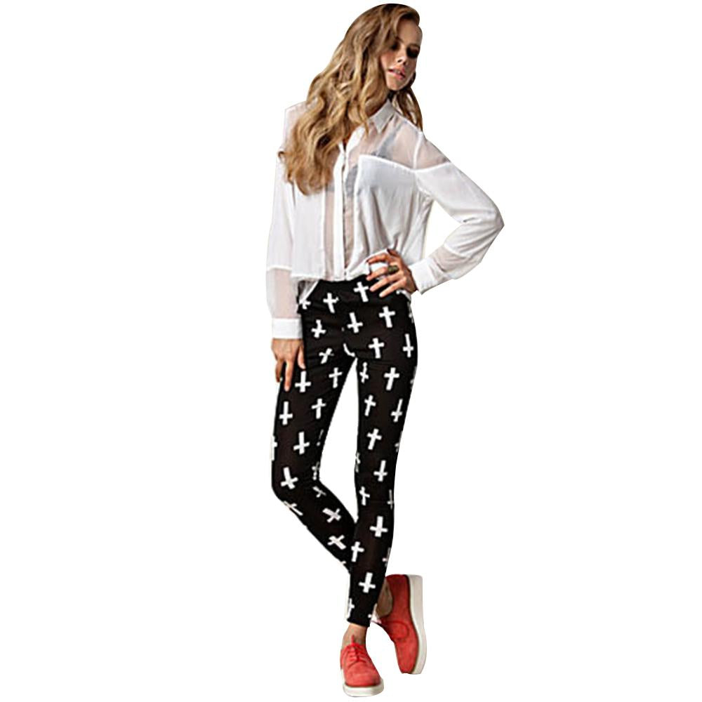 Jaune Crosses Print Leggings