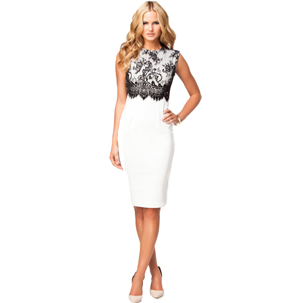 Jaune Floral Lace White Empire Sheath Dress