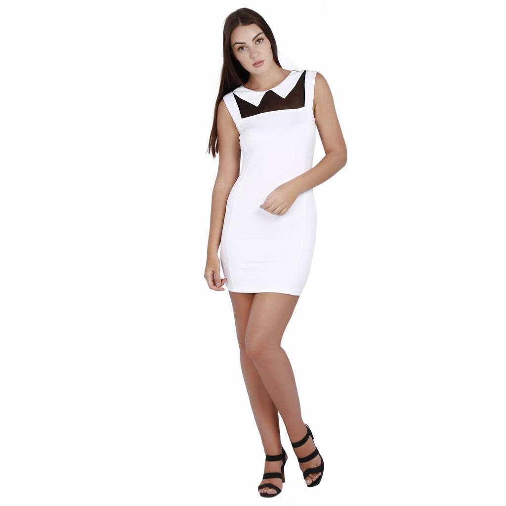 Jaune Collar Neck Sheath Dress - White