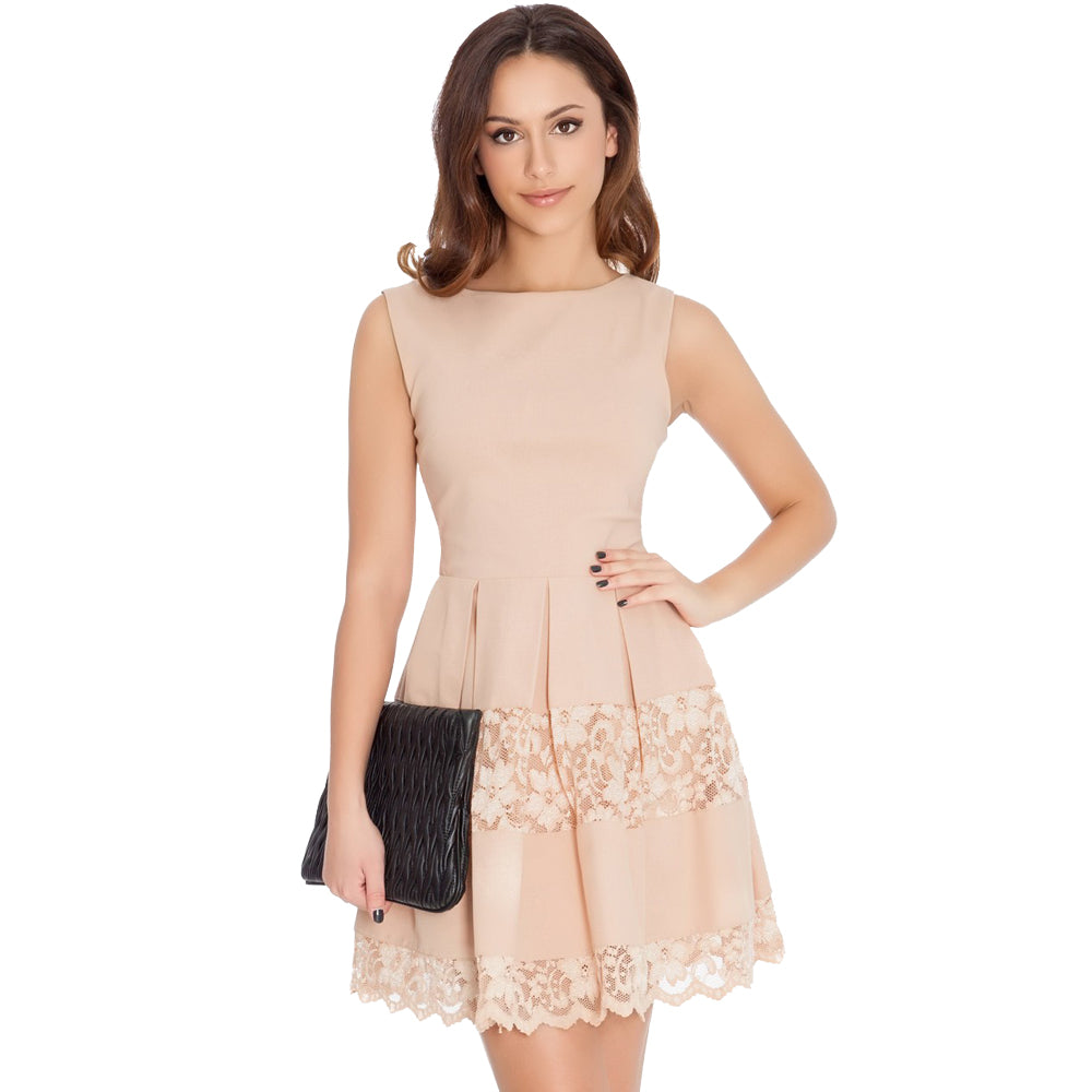Jaune Premium Lace Skater Dress