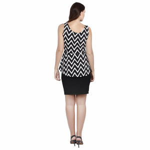 Jaune Chevron Print Soft Rfuffle Sleeveless Peplum Dress