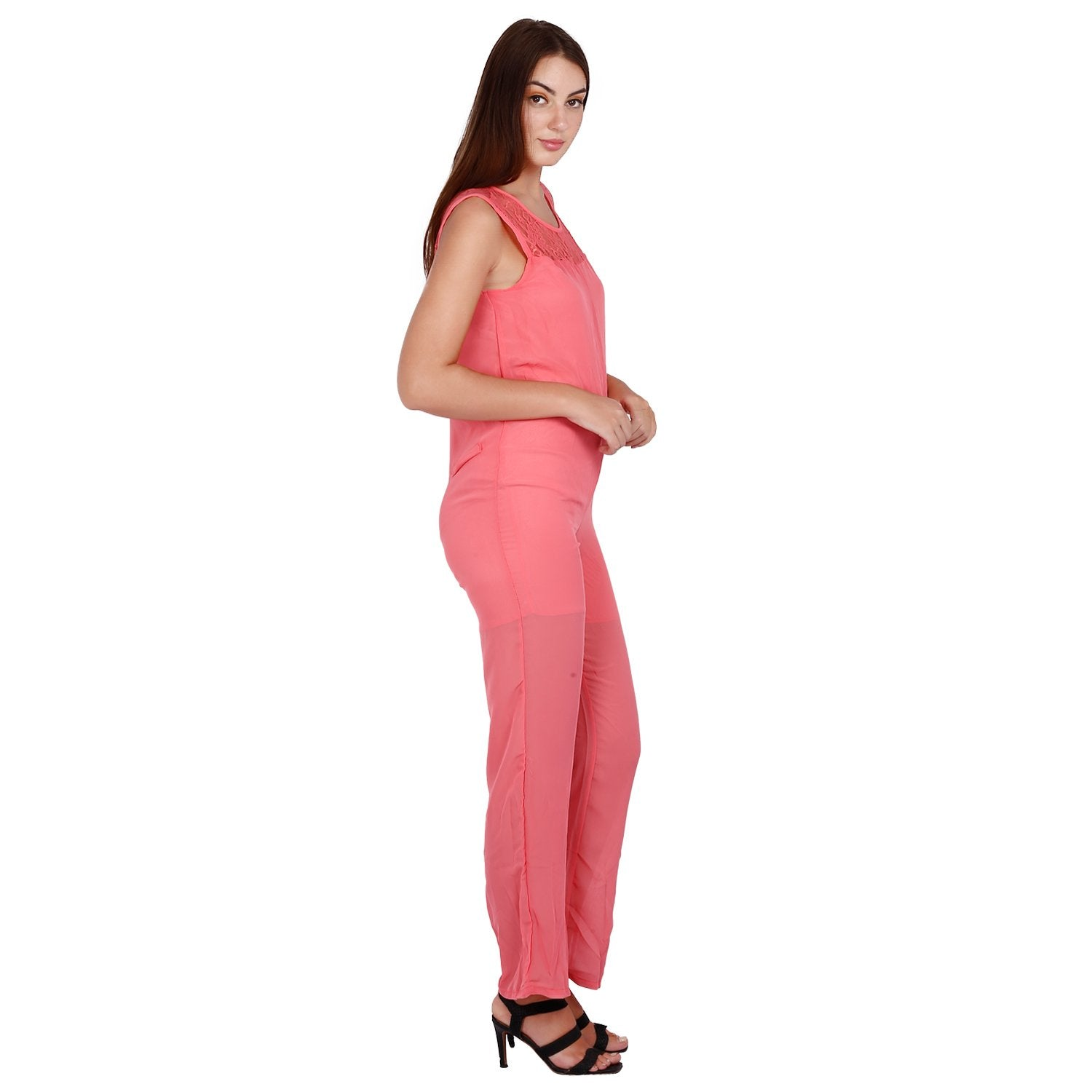 Jaune Pink Color Chiffon Jumpsuit
