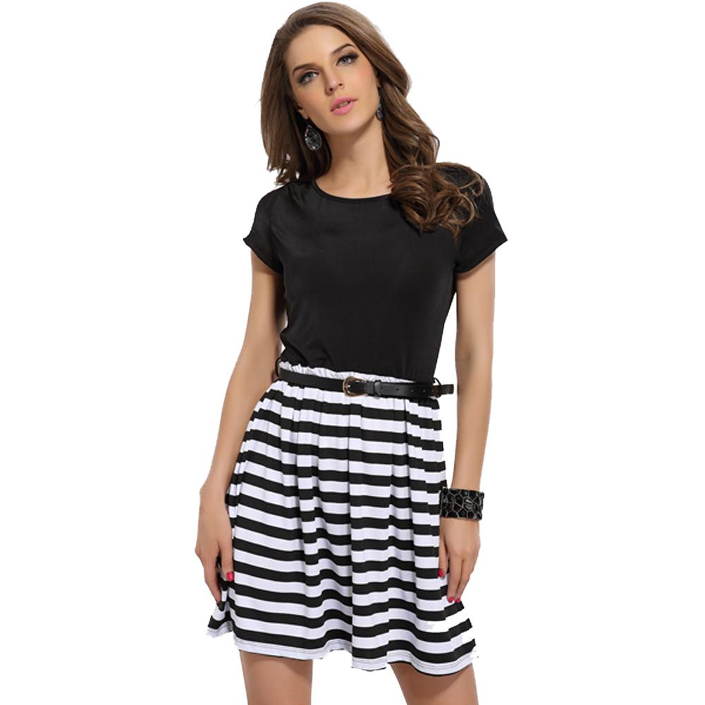 Jaune Solids and Stripes Skater Dress - Black