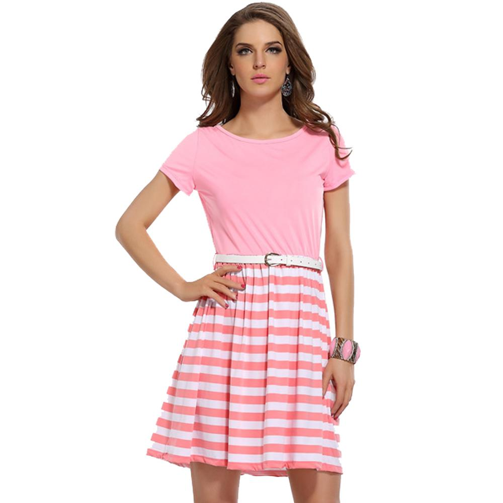 Jaune Solids and Stripes Skater Dress - Pink