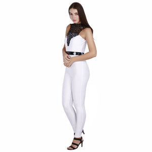 Jaune White Lace Full Jumpsuit