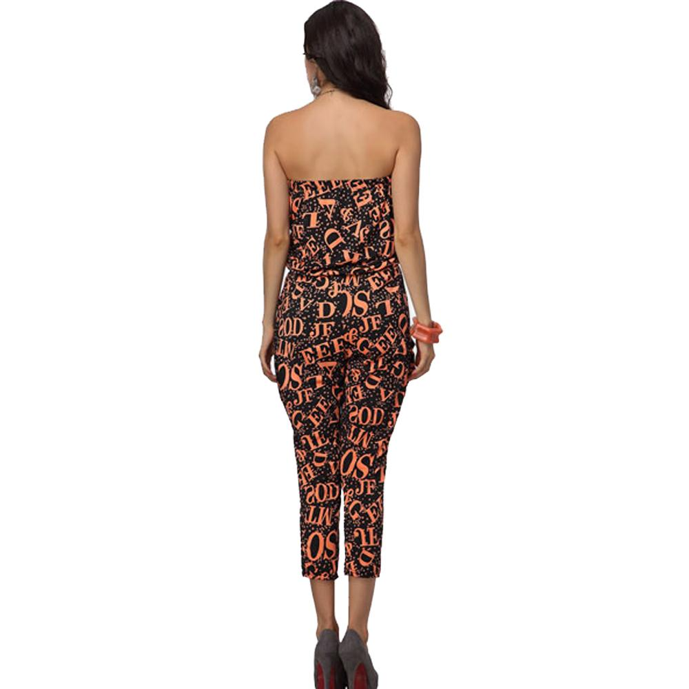 Jaune Alphabets Printed Jumpsuit - Black and Orange