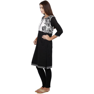 Jaune Black and White Saga Sprig Print Kurta