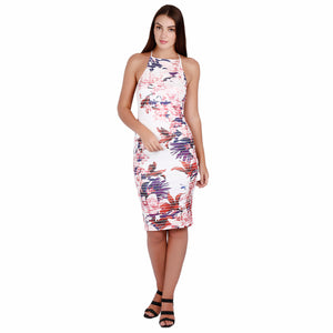 Jaune Floral Graphic Bodycon Dress