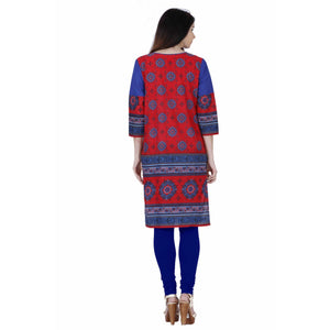 Jaune Red and Blue Festive Arabesque Motifs Printed Kurta
