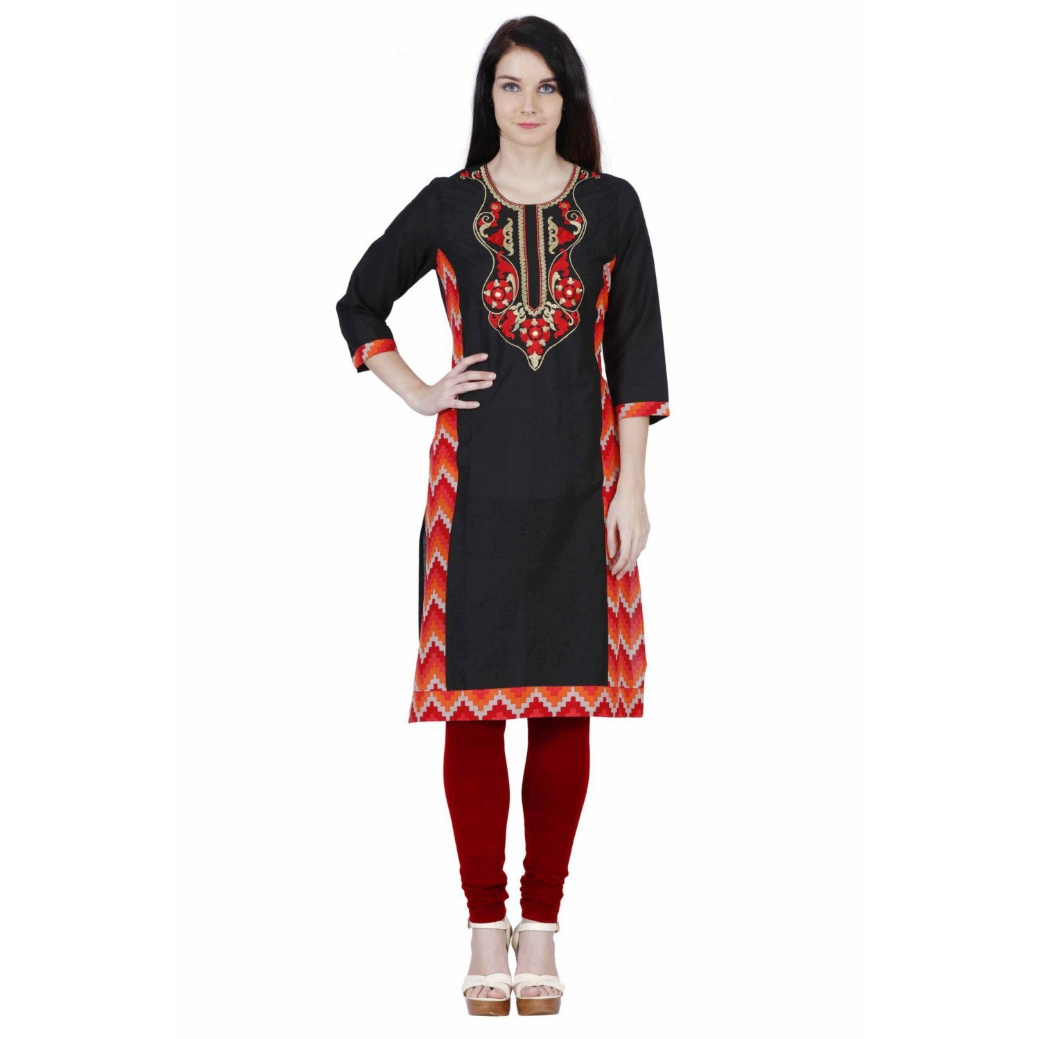 Jaune Red and Golden Quatrefoils Embroidered Solid Black Kurta
