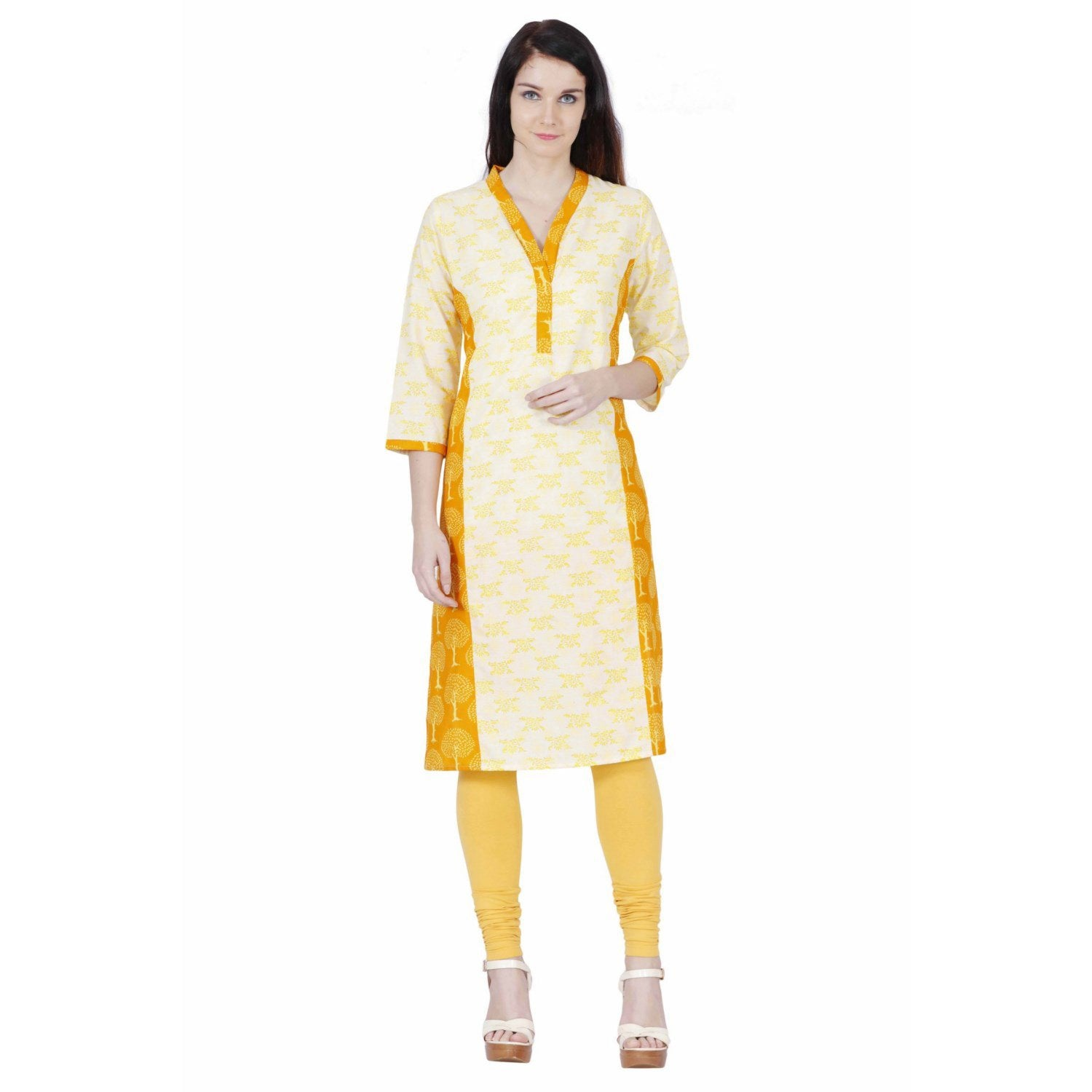 Jaune Yellow and Orange Calico Print Cream Kurta