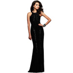 Jaune Paris Shimmer Sequin Halter Gown - Black