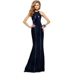 Jaune Paris Shimmer Sequin Halter Gown - Midnight Blue