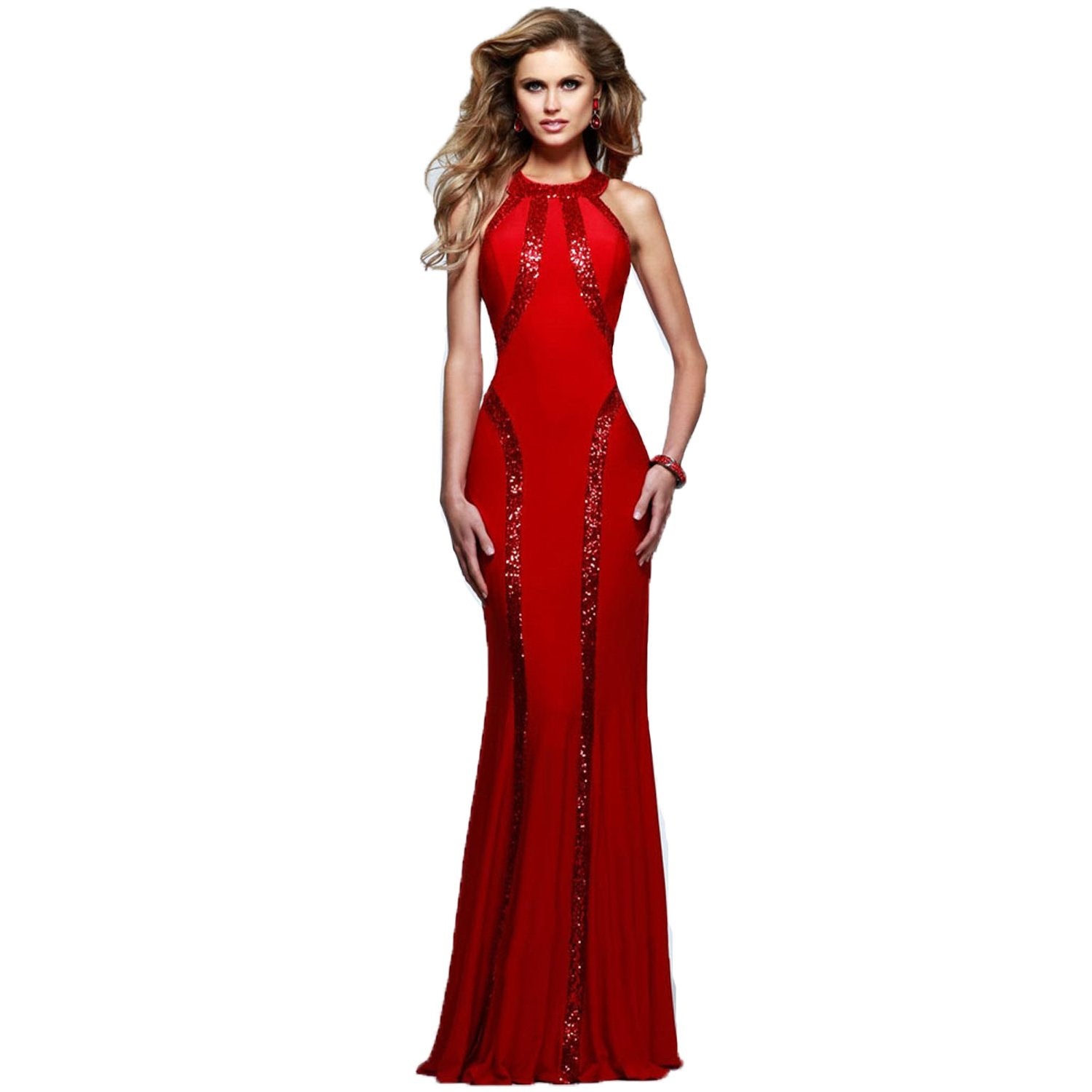 Jaune Paris Shimmer Sequin Halter Gown - Scarlet Red
