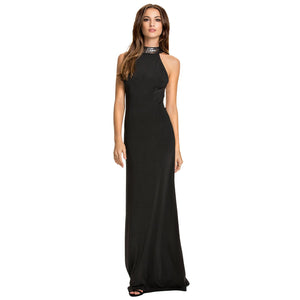 Jaune Alexandria Sequin Bands Absolute Glitz Halter Gown - Ink Black