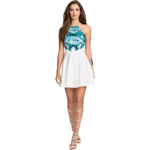 Jaune Cerulean Blue and White Midi Skater Dress