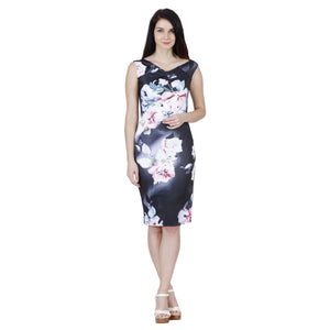 Jaune French Vineyards Floral Collection - Multicolor Lily Print Black Dress