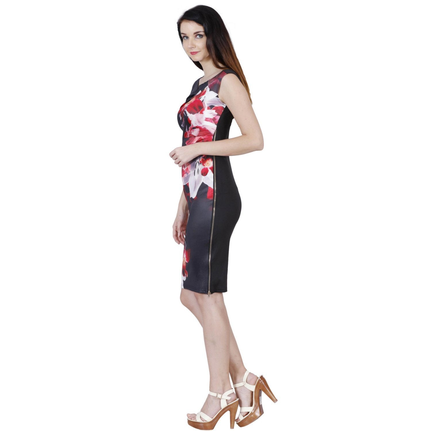 Jaune French Vineyards Floral Collection - Red Lily Print Black Dress