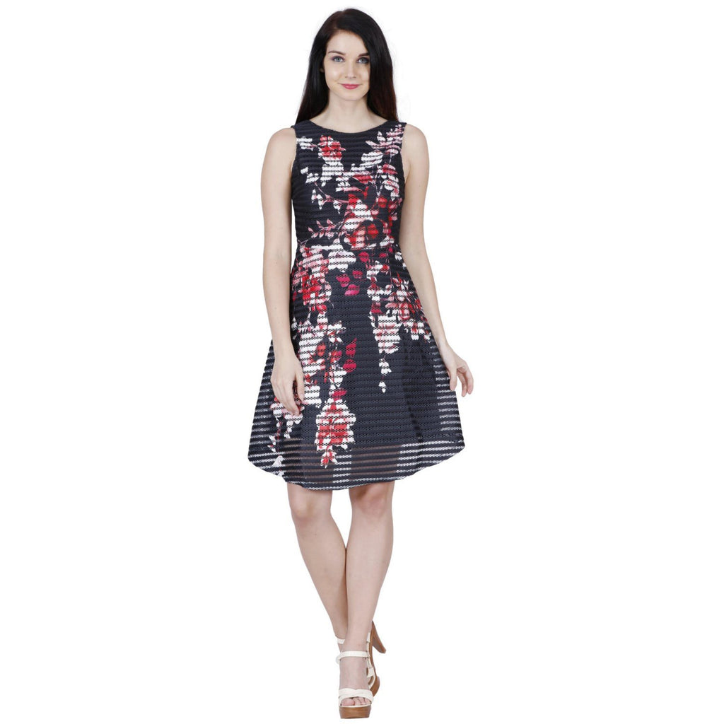 940c1d7e84 Jaune French Vineyards Floral Collection - Scuba Printed Ribbed Black  Skater Dress