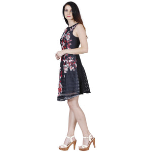 Jaune French Vineyards Floral Collection - Scuba Printed Ribbed Black Skater Dress