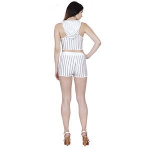 Jaune Striped Hooded Tank Top and Hot Shorts Brazilian Sport Suit - White