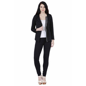 Jaune Detachable Glitzy Lapel Black Blazer