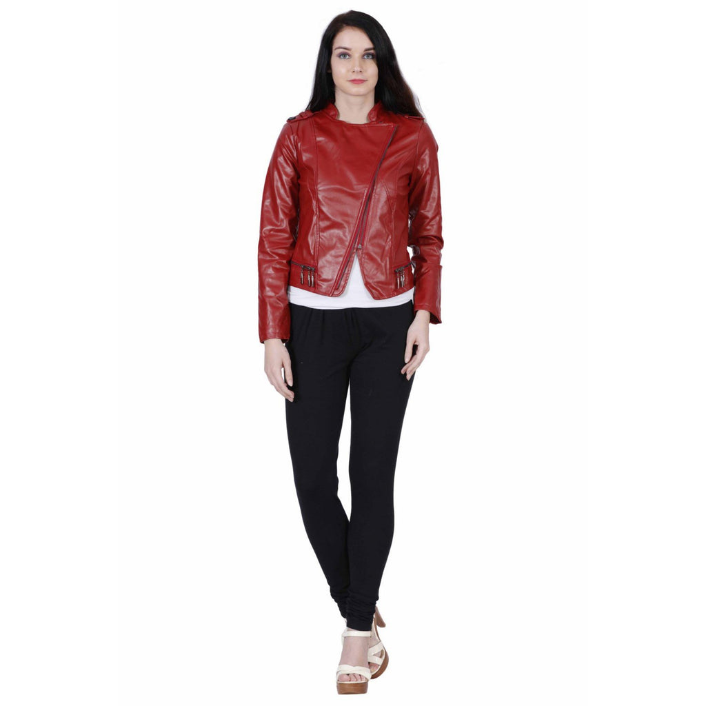 Burgundy Red Faux Leather Biker Jacket