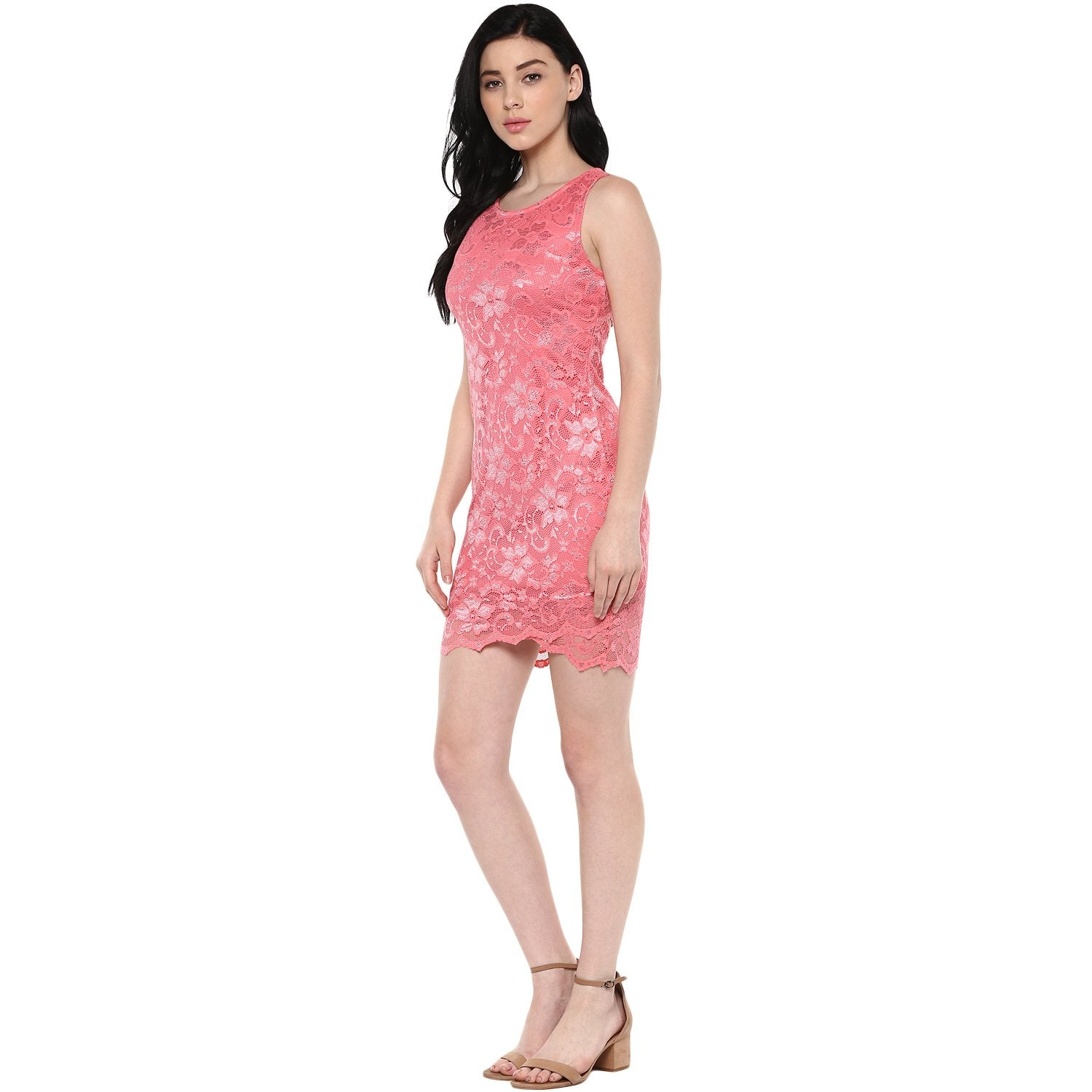 Jaune Lace Cut-Out Back Rose Pink Bodycon Dress