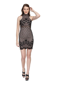 Jaune Lace Designer Black Midi Dress
