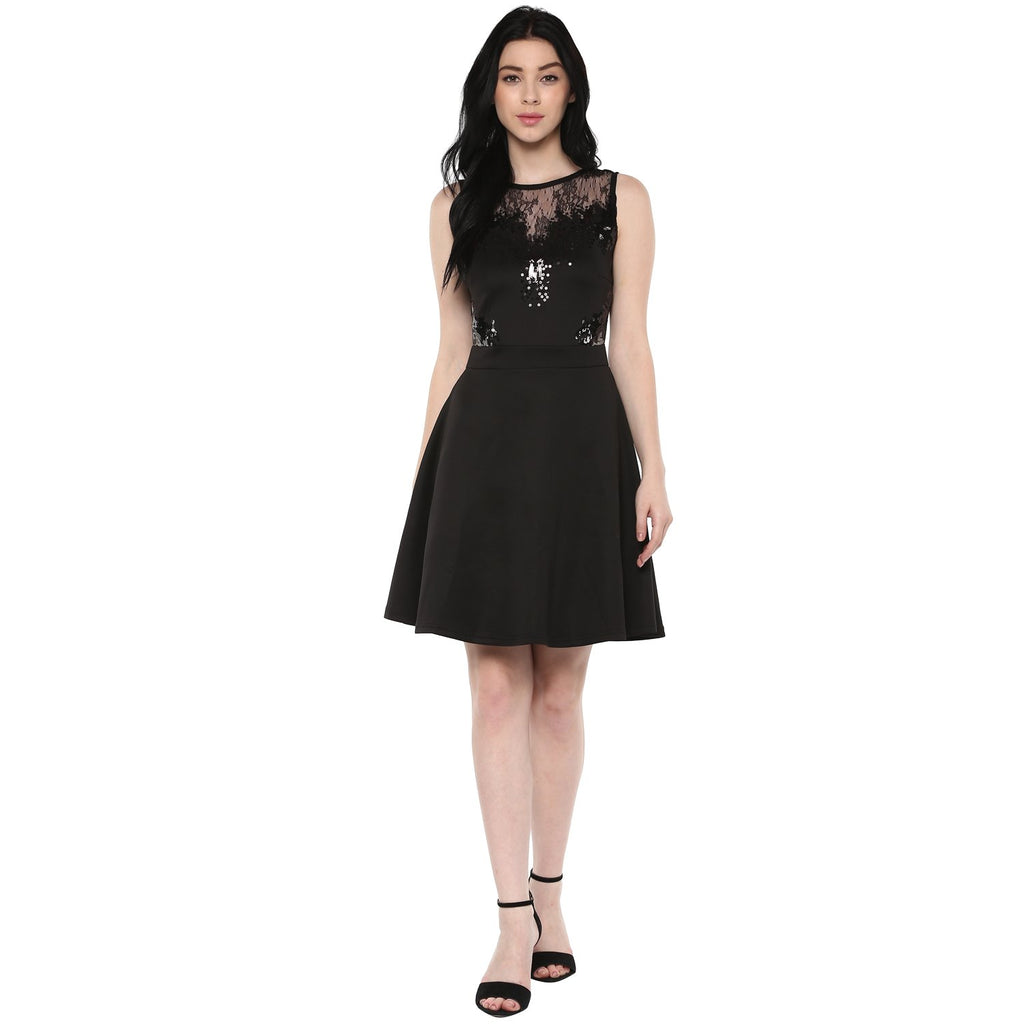 Jaune Premium Embellished Lace Black Skater Dress