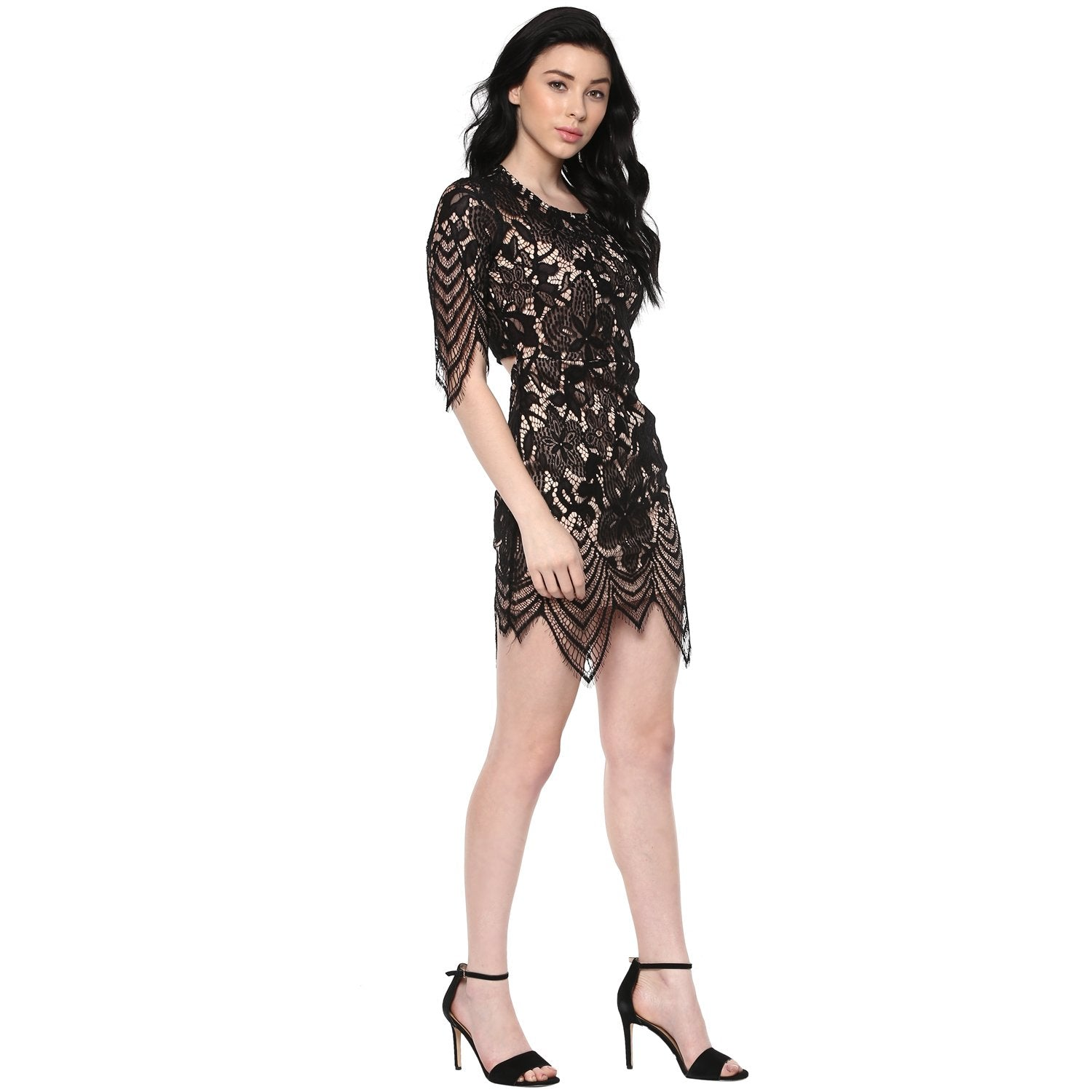 Jaune Hi Low Black Premium Lace Leaflets Dress