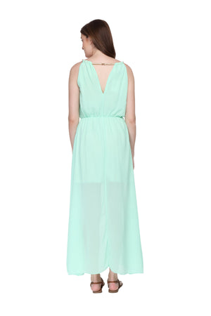 Jaune Summer Alexendria Bannett Collection -  Boho Over the Ocean Solid Green Maxi Dress