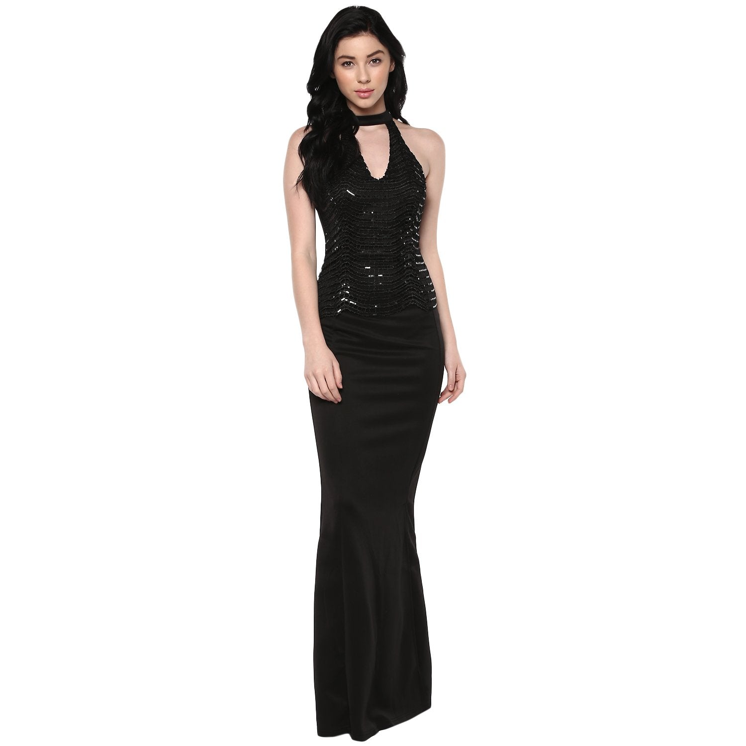 Jaune Milan Alexendria Theme Sequin Cut Work Embellished Choker Neck Sheath Gown - Black