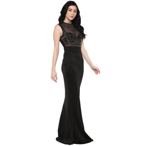 Jaune Rhinestone Embellished Mermaid Style Gown