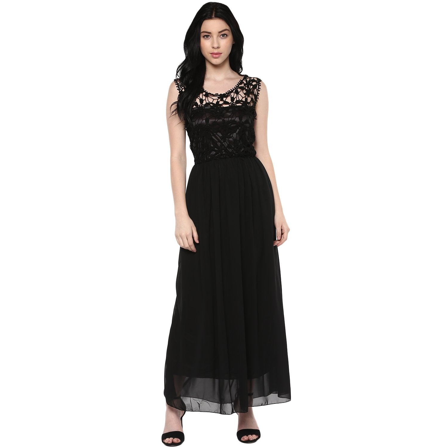 Jaune Ink Black Crochet Cut Wok Designer Gown